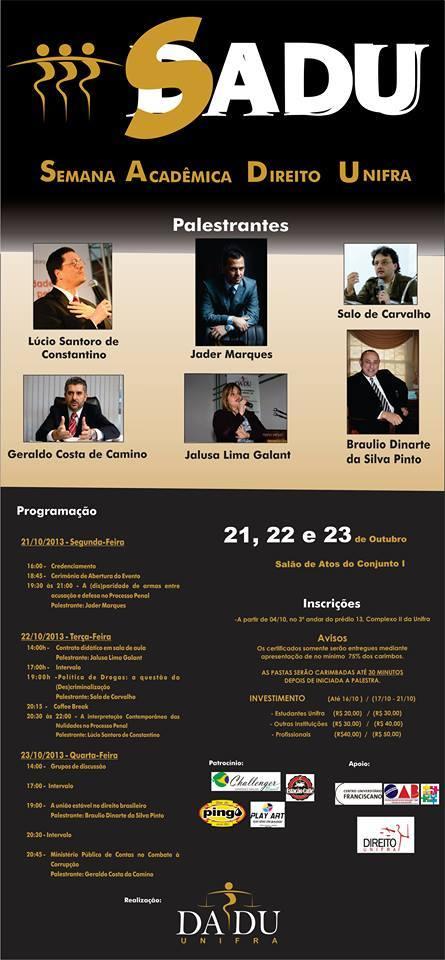 III Semana Acadêmica DADU UNIFRA Santa Maria -RS